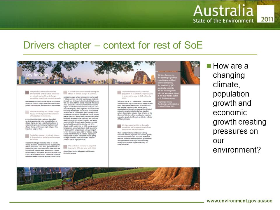 www.environment.gov.au/soe Drivers chapter – context for rest of SoE How are a changing climate, population growth and economic growth creating pressures on our environment