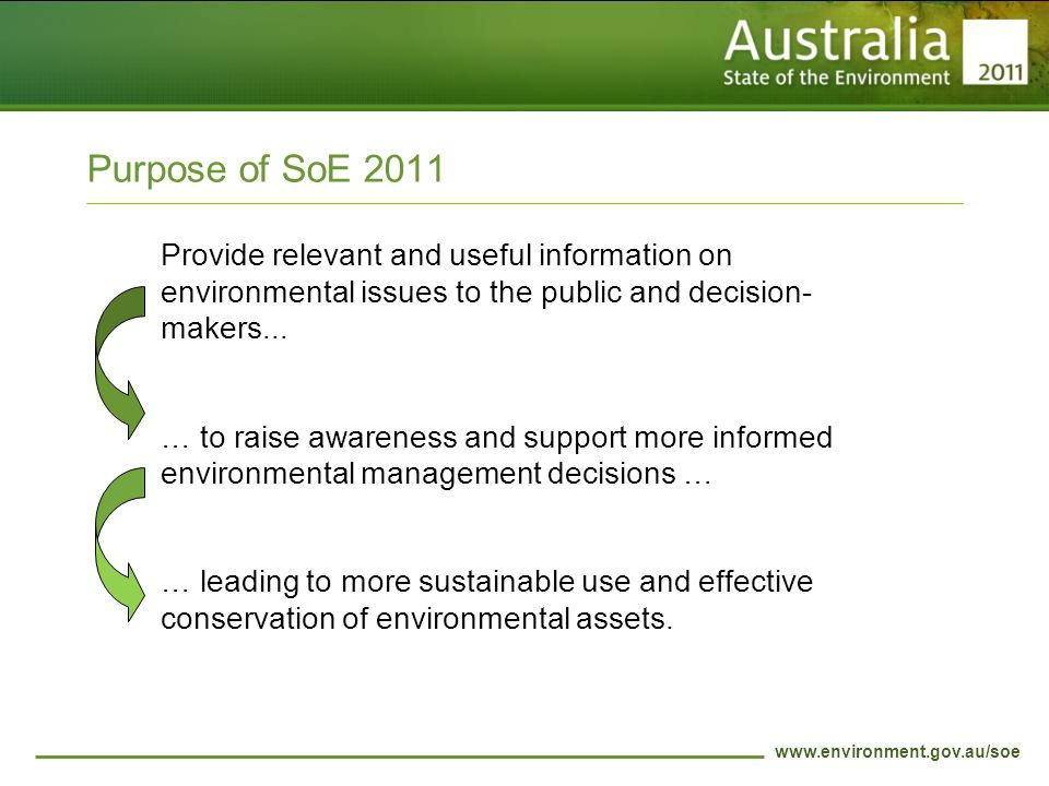 www.environment.gov.au/soe Purpose of SoE 2011 Provide relevant and useful information on environmental issues to the public and decision- makers...