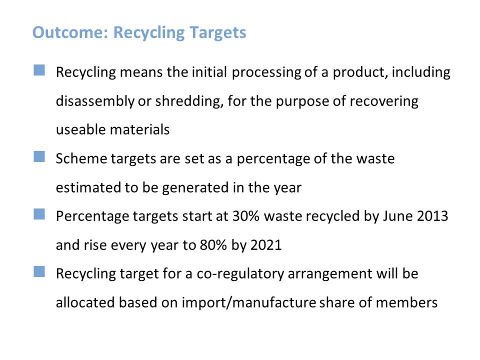 Outcome: Recycling Targets Recycling means the initial processing of a product, including disassembly or shredding, for the purpose of recovering usea