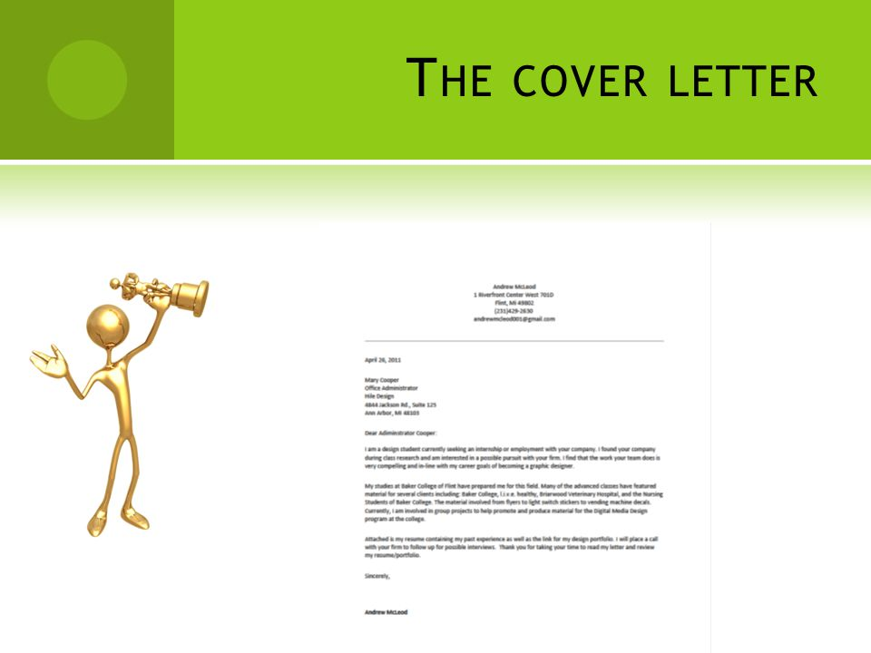 T HE COVER LETTER