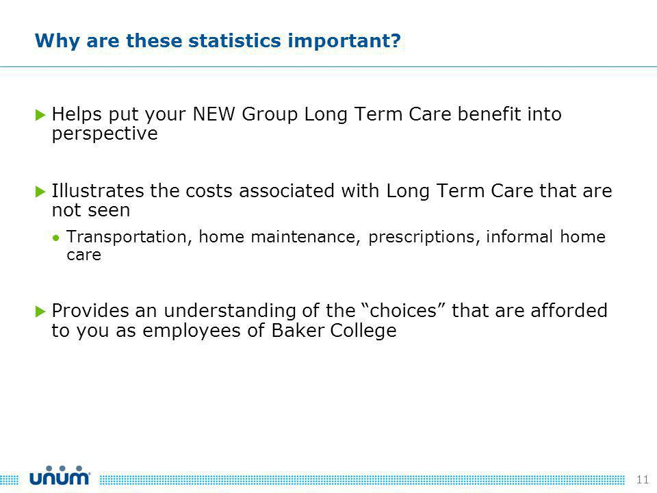 11  Helps put your NEW Group Long Term Care benefit into perspective  Illustrates the costs associated with Long Term Care that are not seen ● Transportation, home maintenance, prescriptions, informal home care  Provides an understanding of the choices that are afforded to you as employees of Baker College Why are these statistics important