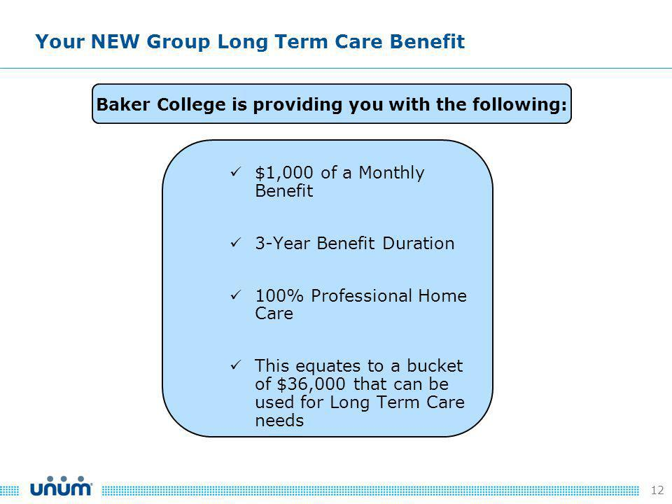 12 $1,000 of a Monthly Benefit 3-Year Benefit Duration 100% Professional Home Care This equates to a bucket of $36,000 that can be used for Long Term Care needs Your NEW Group Long Term Care Benefit Baker College is providing you with the following: