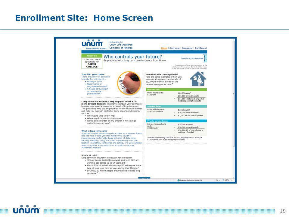 18 Enrollment Site: Home Screen