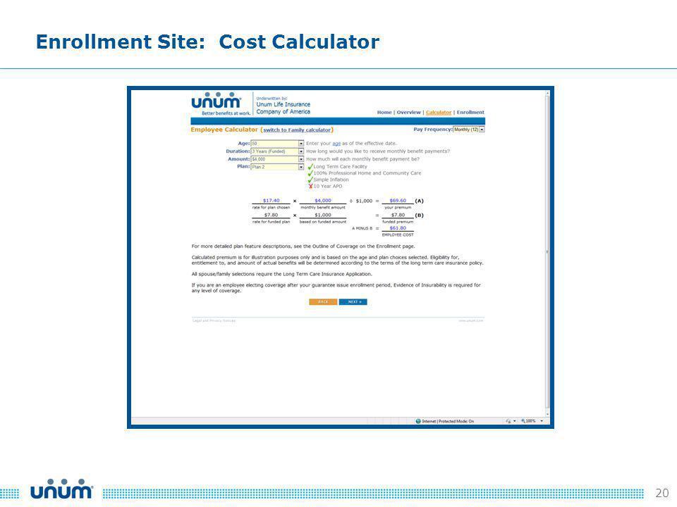 20 Enrollment Site: Cost Calculator