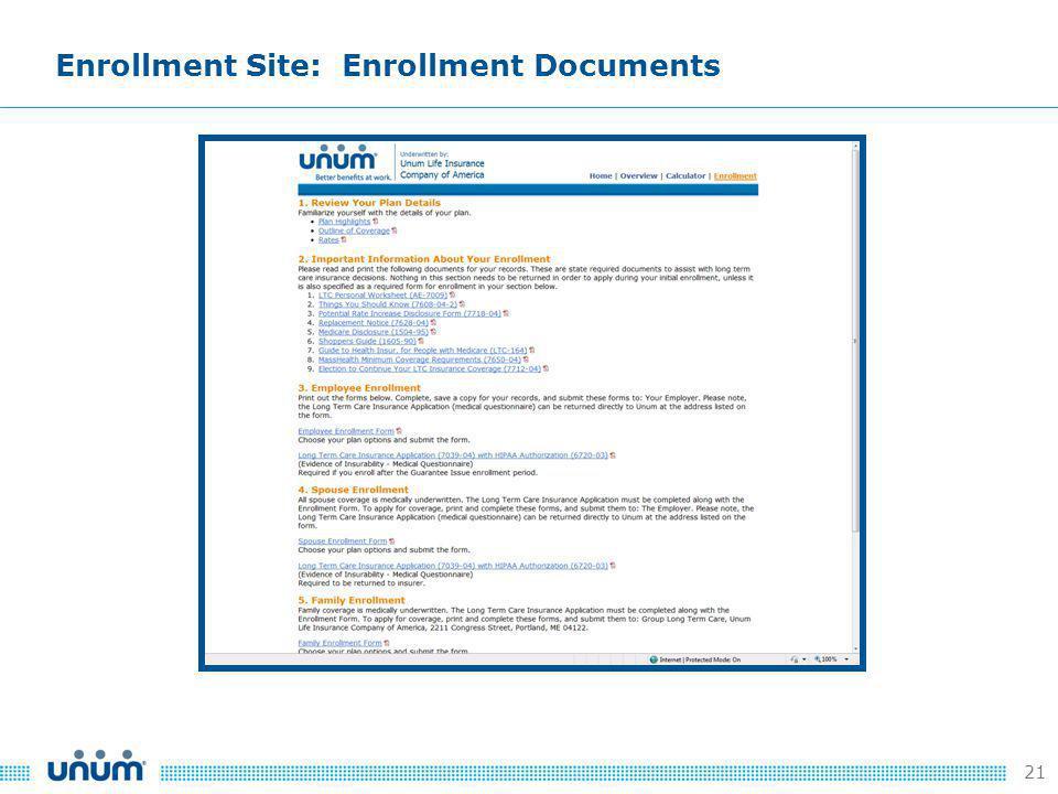 21 Enrollment Site: Enrollment Documents