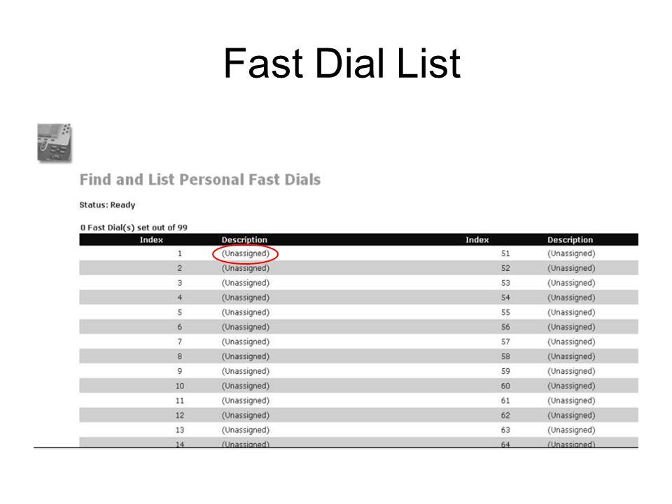 Fast Dial List