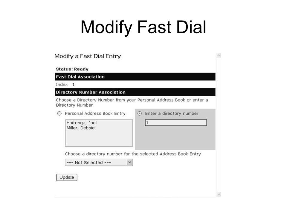 Modify Fast Dial