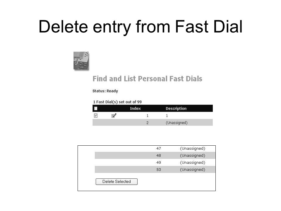 Delete entry from Fast Dial