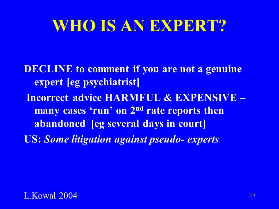 17 WHO IS AN EXPERT.