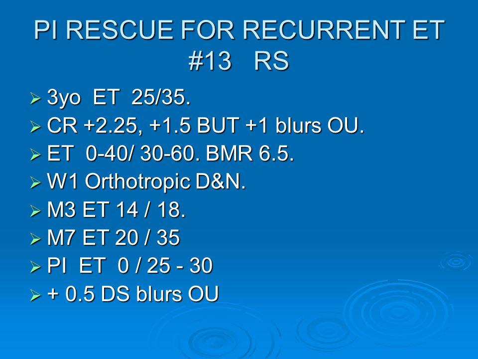 PI RESCUE FOR RECURRENT ET #13 RS  3yo ET 25/35.  CR +2.25, +1.5 BUT +1 blurs OU.