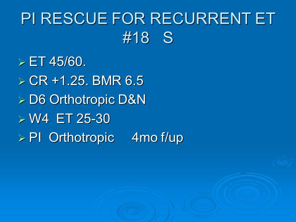 PI RESCUE FOR RECURRENT ET #18 S  ET 45/60.  CR +1.25.
