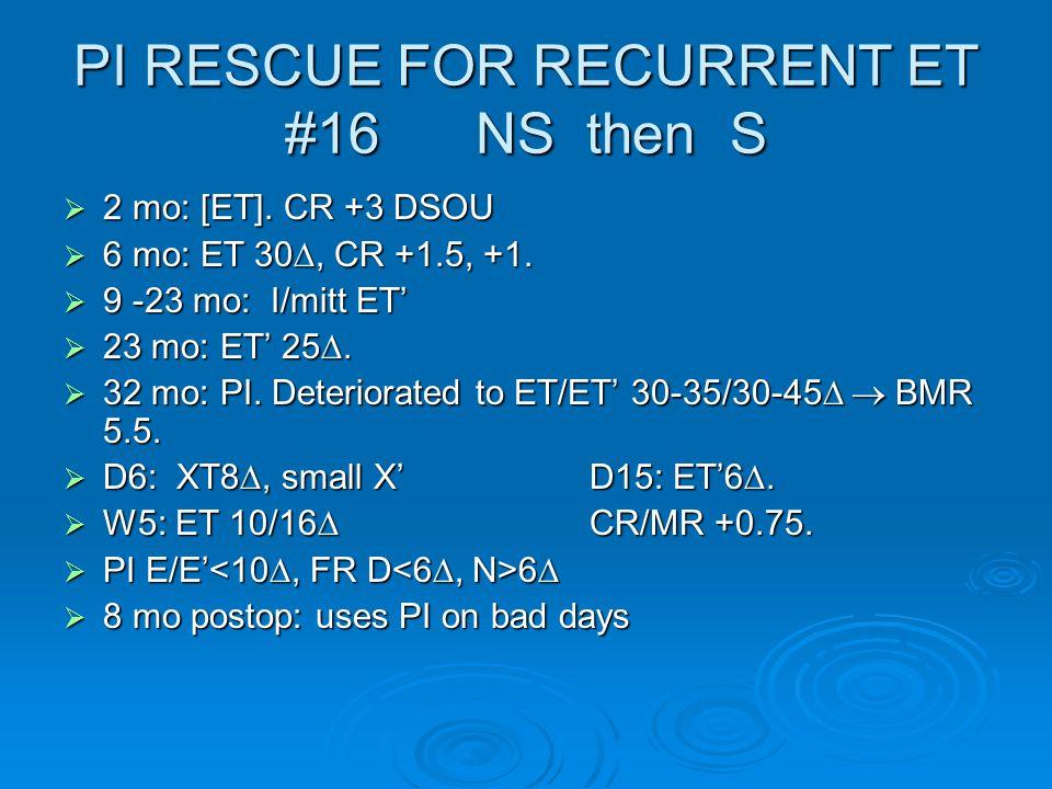 PI RESCUE FOR RECURRENT ET #16 NS then S  2 mo: [ET].
