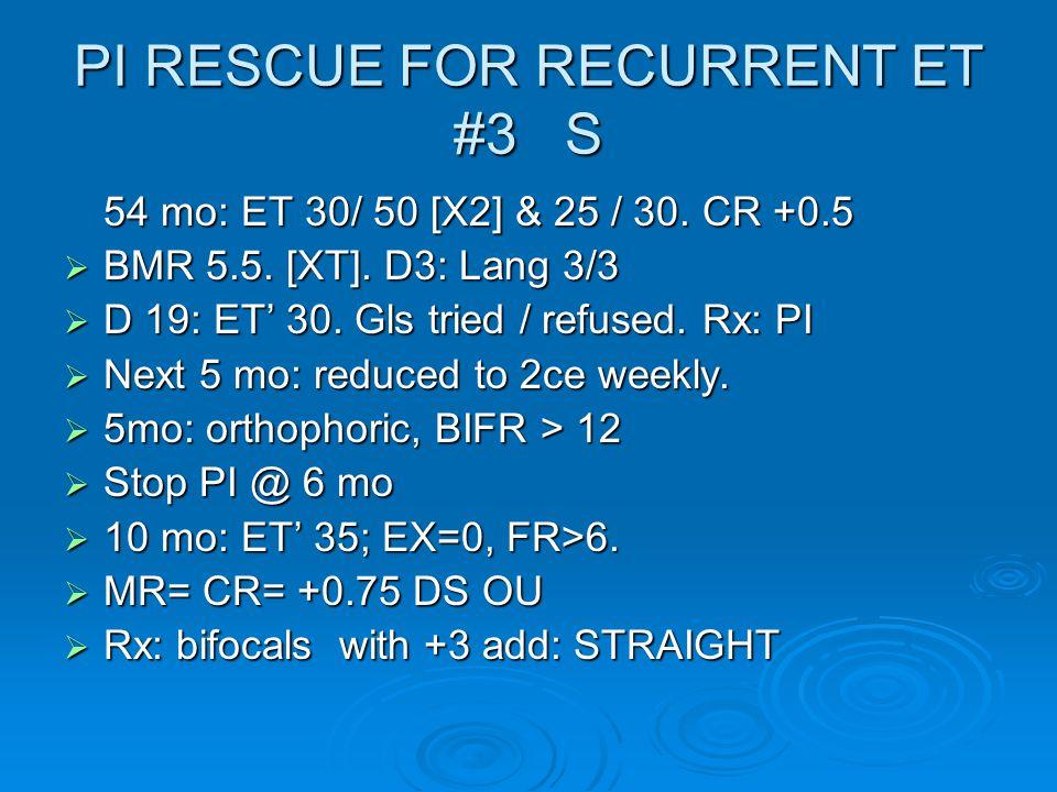 PI RESCUE FOR RECURRENT ET #3 S 54 mo: ET 30/ 50 [X2] & 25 / 30.
