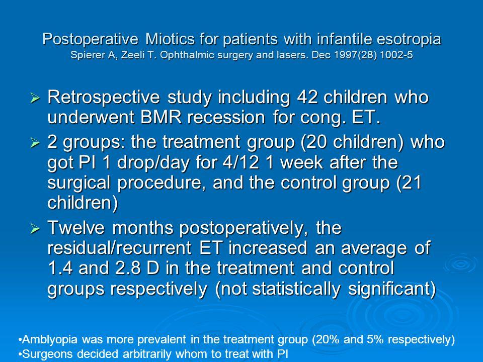 Postoperative Miotics for patients with infantile esotropia Spierer A, Zeeli T.