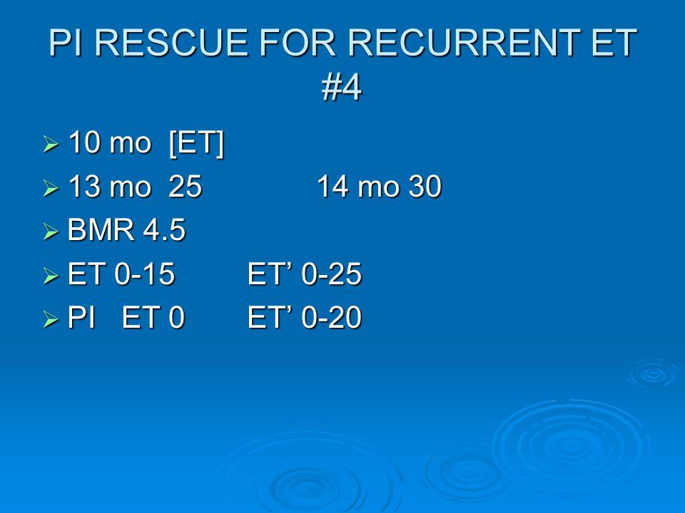 PI RESCUE FOR RECURRENT ET #4  10 mo [ET]  13 mo 2514 mo 30  BMR 4.5  ET 0-15ET' 0-25  PI ET 0ET' 0-20