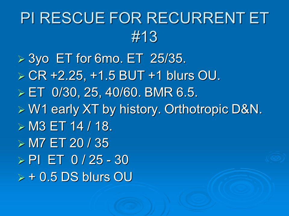 PI RESCUE FOR RECURRENT ET #13  3yo ET for 6mo. ET 25/35.