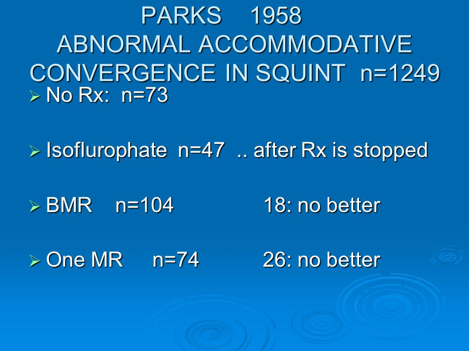 PARKS 1958 number where A:AC improved [ result perfect] No Rx MioticBMR One MR < 7y 9/3129%4/1527% 7 -12y 20/40 28/32 87% All 69 / 104 66%[40;38%] 27 /74 36%[7;9.5%]