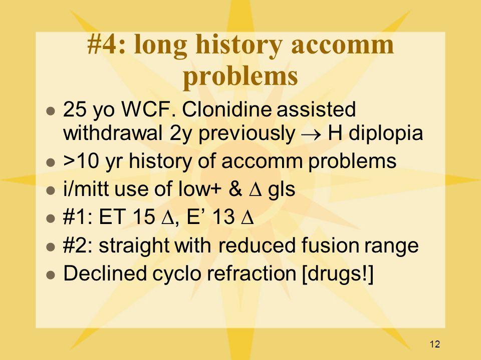 12 #4: long history accomm problems 25 yo WCF.