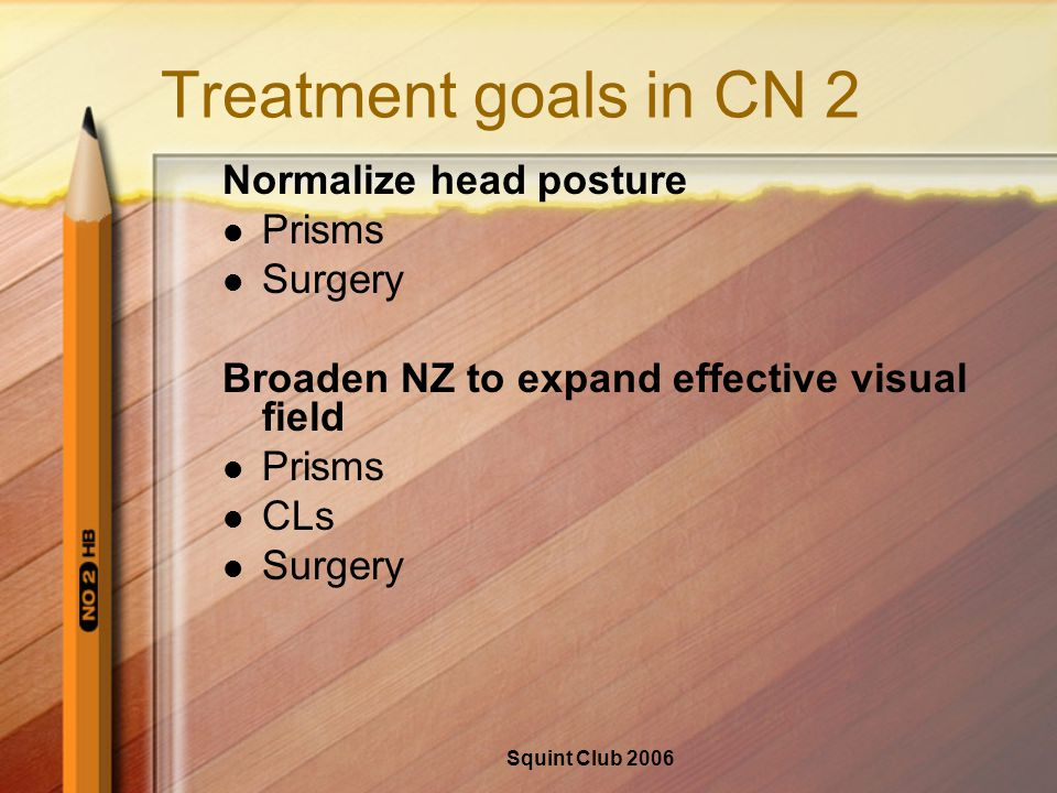 Squint Club 2006 Treatment goals in CN 2 Normalize head posture Prisms Surgery Broaden NZ to expand effective visual field Prisms CLs Surgery