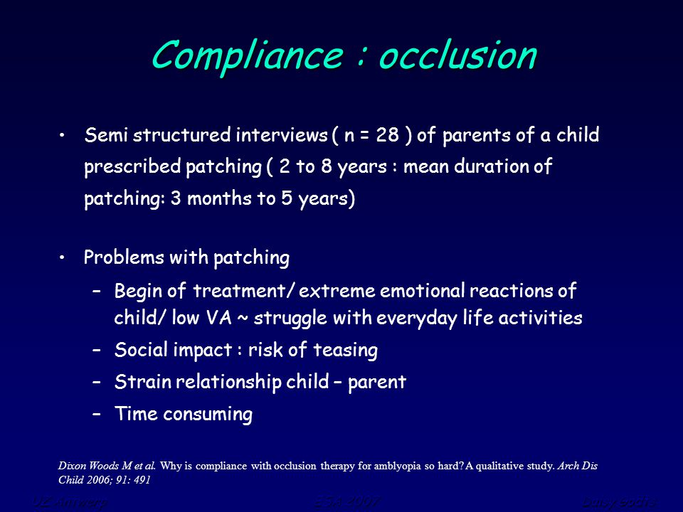 UZ Antwerp ESA 2007 Daisy Godts Dixon Woods M et al. Why is compliance with occlusion therapy for amblyopia so hard? A qualitative study. Arch Dis Chi