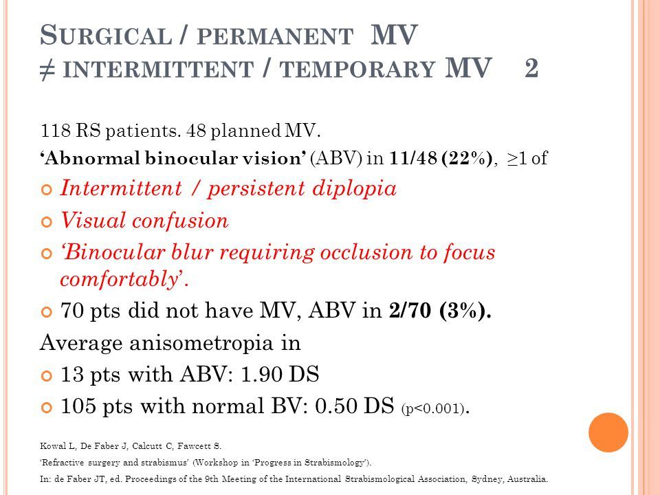 S URGICAL / PERMANENT MV ≠ INTERMITTENT / TEMPORARY MV 2 118 RS patients.