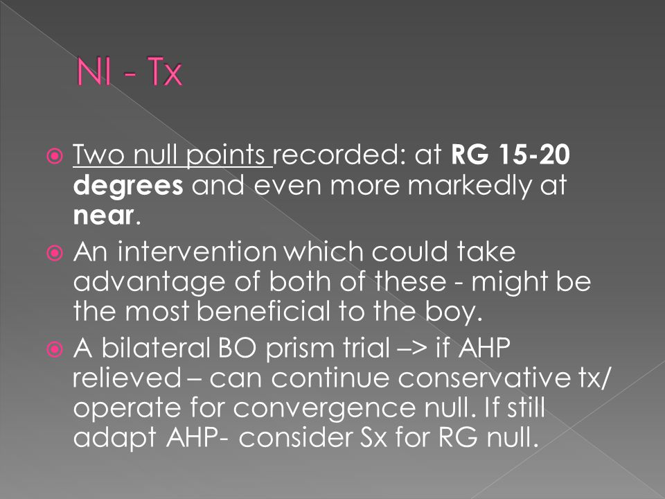  Two null points recorded: at RG 15-20 degrees and even more markedly at near.