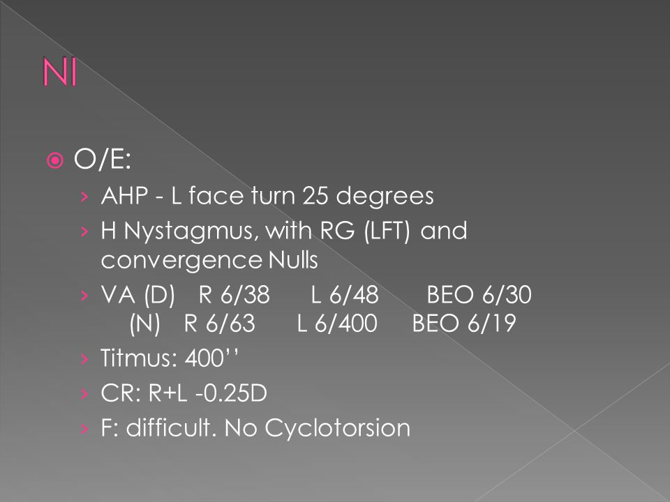  O/E: › AHP - L face turn 25 degrees › H Nystagmus, with RG (LFT) and convergence Nulls › VA (D) R 6/38 L 6/48 BEO 6/30 (N) R 6/63 L 6/400 BEO 6/19 › Titmus: 400'' › CR: R+L -0.25D › F: difficult.