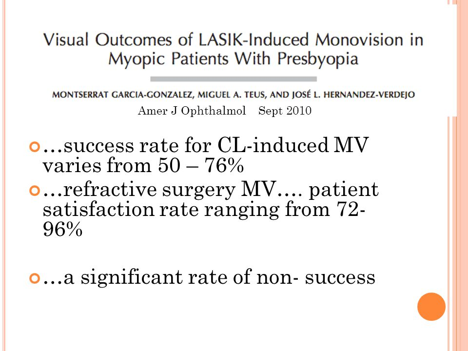 …success rate for CL-induced MV varies from 50 – 76% …refractive surgery MV…. patient satisfaction rate ranging from 72- 96% …a significant rate of no