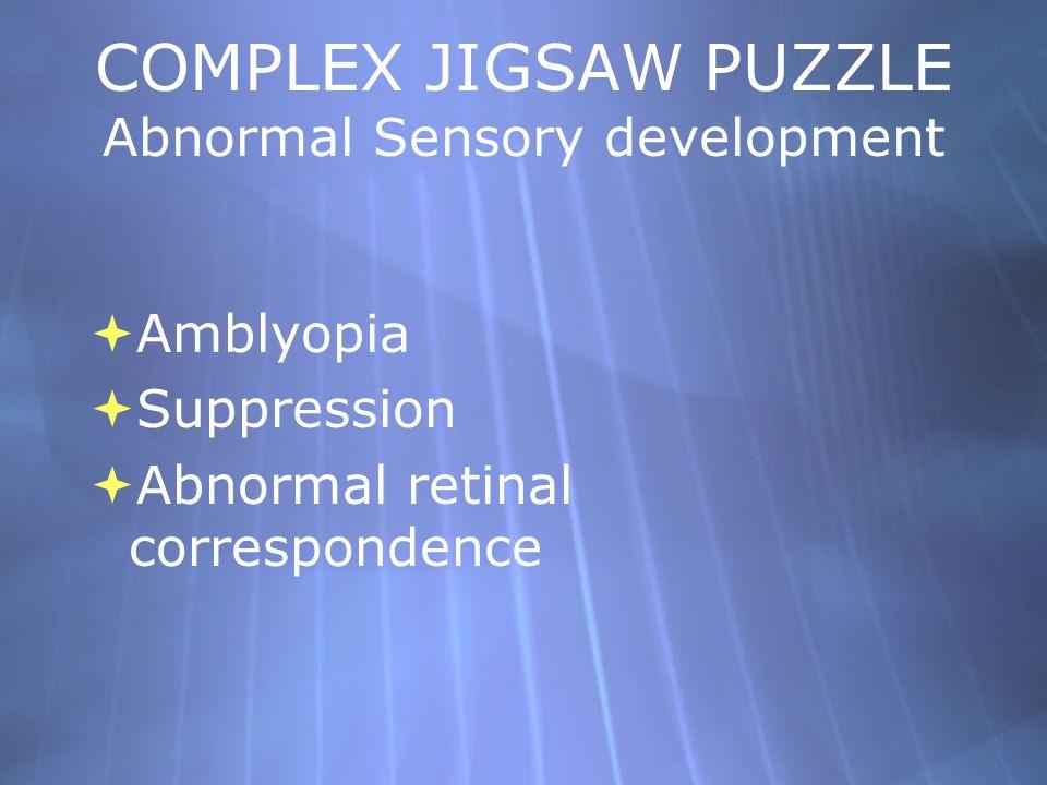 COMPLEX JIGSAW PUZZLE Abnormal Sensory development  Amblyopia  Suppression  Abnormal retinal correspondence  Amblyopia  Suppression  Abnormal re