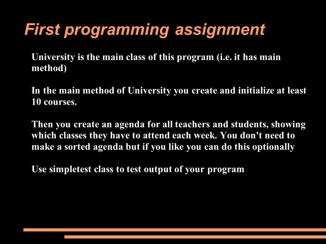 University is the main class of this program (i.e.