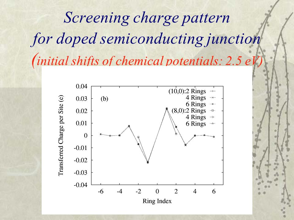 Screening charge pattern for doped semiconducting junction ( initial shifts of chemical potentials: 2.5 eV)