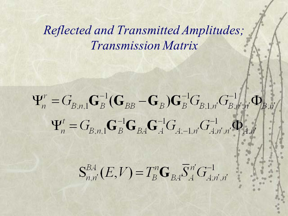 Reflected and Transmitted Amplitudes; Transmission Matrix