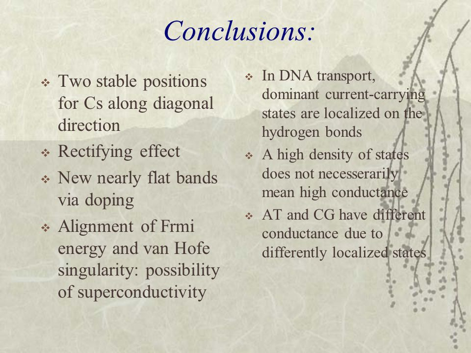 Conclusions:  Two stable positions for Cs along diagonal direction  Rectifying effect  New nearly flat bands via doping  Alignment of Frmi energy and van Hofe singularity: possibility of superconductivity  In DNA transport, dominant current-carrying states are localized on the hydrogen bonds  A high density of states does not necesserarily mean high conductance  AT and CG have different conductance due to differently localized states