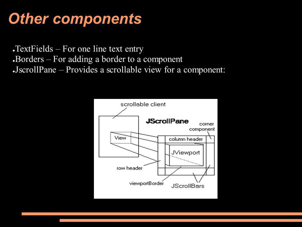 Other components ● TextFields – For one line text entry ● Borders – For adding a border to a component ● JscrollPane – Provides a scrollable view for
