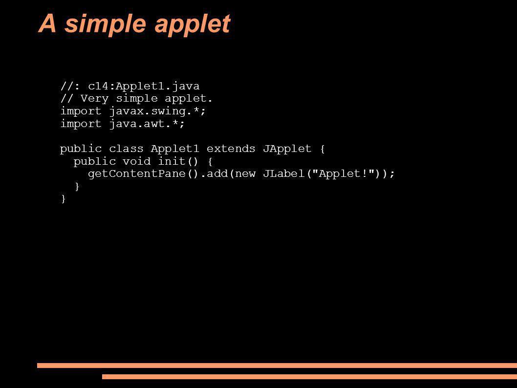 A simple applet //: c14:Applet1.java // Very simple applet.