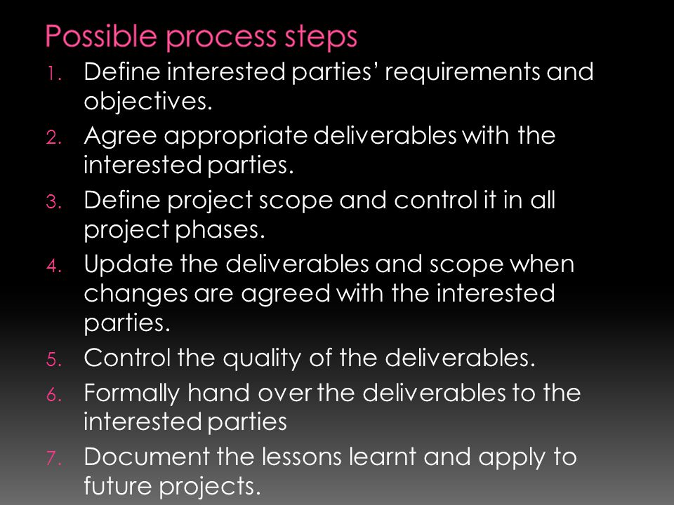 1. Define interested parties' requirements and objectives. 2. Agree appropriate deliverables with the interested parties. 3. Define project scope and