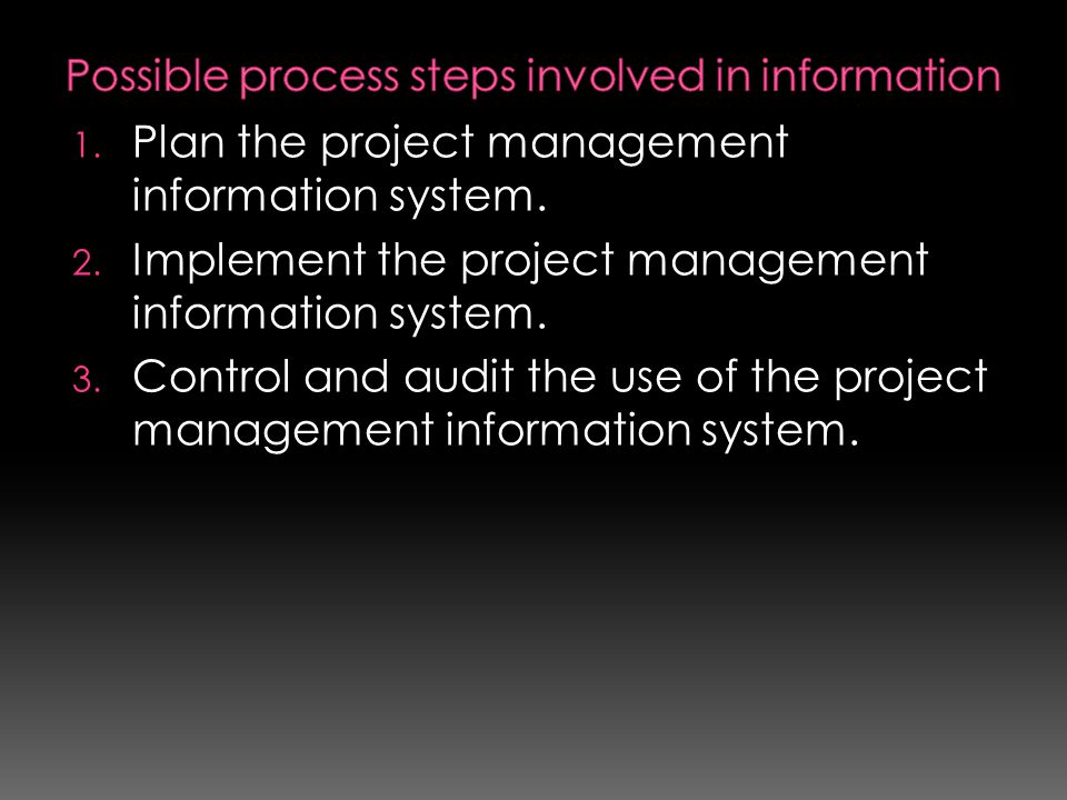 1. Plan the project management information system. 2. Implement the project management information system. 3. Control and audit the use of the project