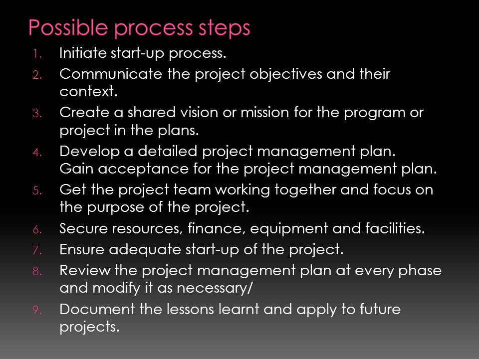 1. Initiate start-up process. 2. Communicate the project objectives and their context. 3. Create a shared vision or mission for the program or project