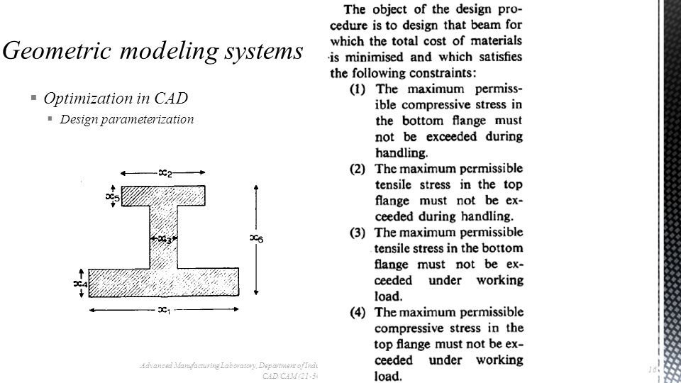  Optimization in CAD  Design parameterization Advanced Manufacturing Laboratory, Department of Industrial Engineering, Sharif University of Technology CAD/CAM (21-342), Session #9 16