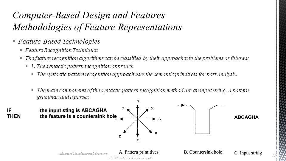  Feature-Based Technologies  Feature Recognition Techniques  The feature recognition algorithms can be classified by their approaches to the problems as follows:  1.