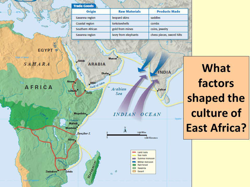 THE BANTU MIGRATION Over the course of 4,000 years, Bantu peoples of central Africa migrated south in search of farmland These Bantu migrations helped