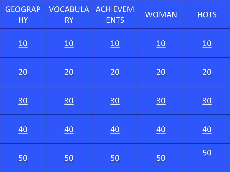 GEOGRAP HY VOCABULA RY ACHIEVEM ENTS WOMANHOTS 10 20 30 40 50