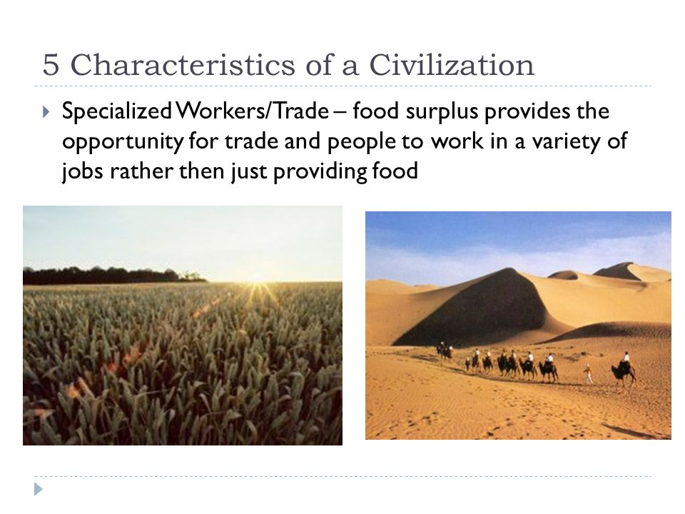 5 Characteristics of a Civilization  Specialized Workers/Trade – food surplus provides the opportunity for trade and people to work in a variety of jobs rather then just providing food