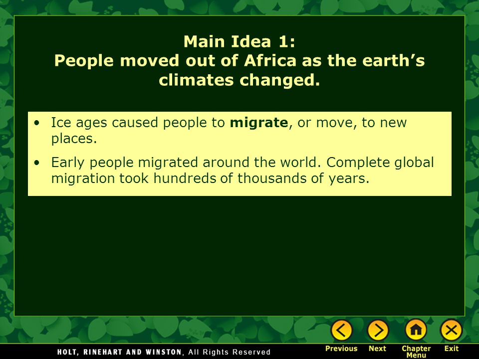 Main Idea 1: People moved out of Africa as the earth's climates changed.