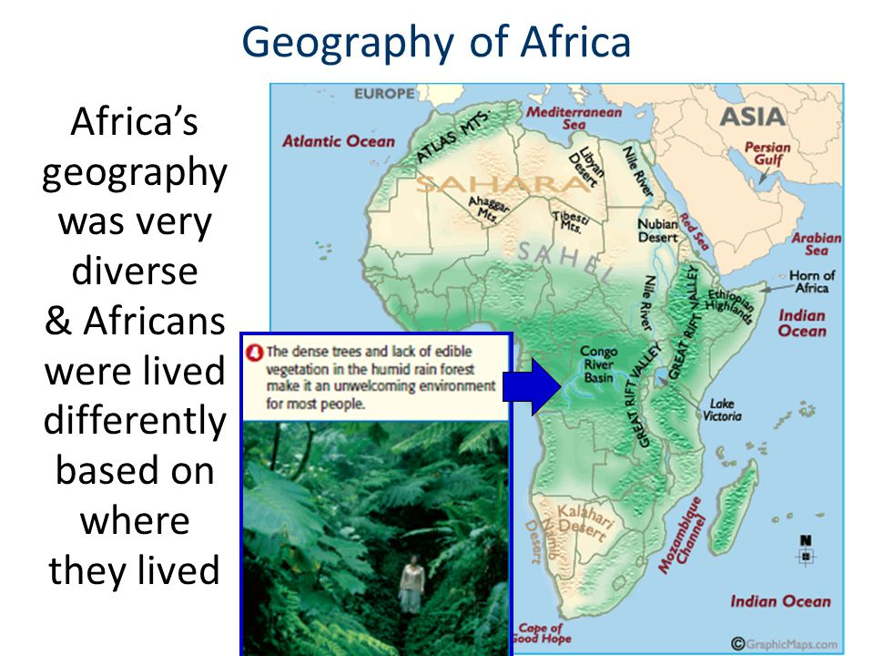 Geography of Africa Africa's geography was very diverse & Africans were lived differently based on where they lived