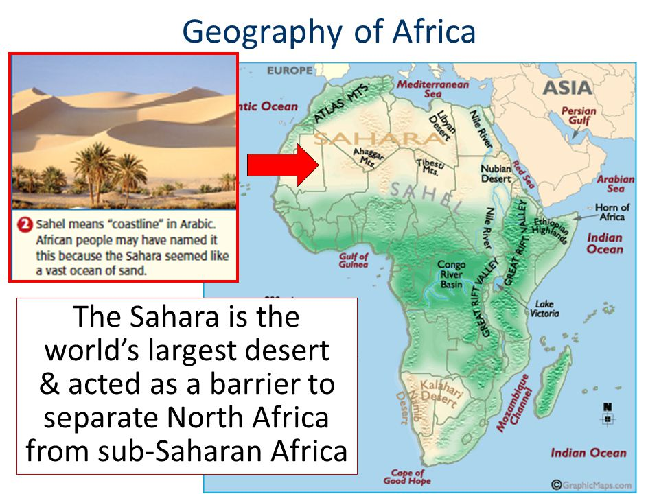Geography of Africa The Sahara is the world's largest desert & acted as a barrier to separate North Africa from sub-Saharan Africa
