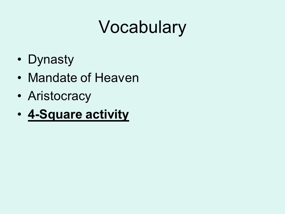 Vocabulary Dynasty Mandate of Heaven Aristocracy 4-Square activity