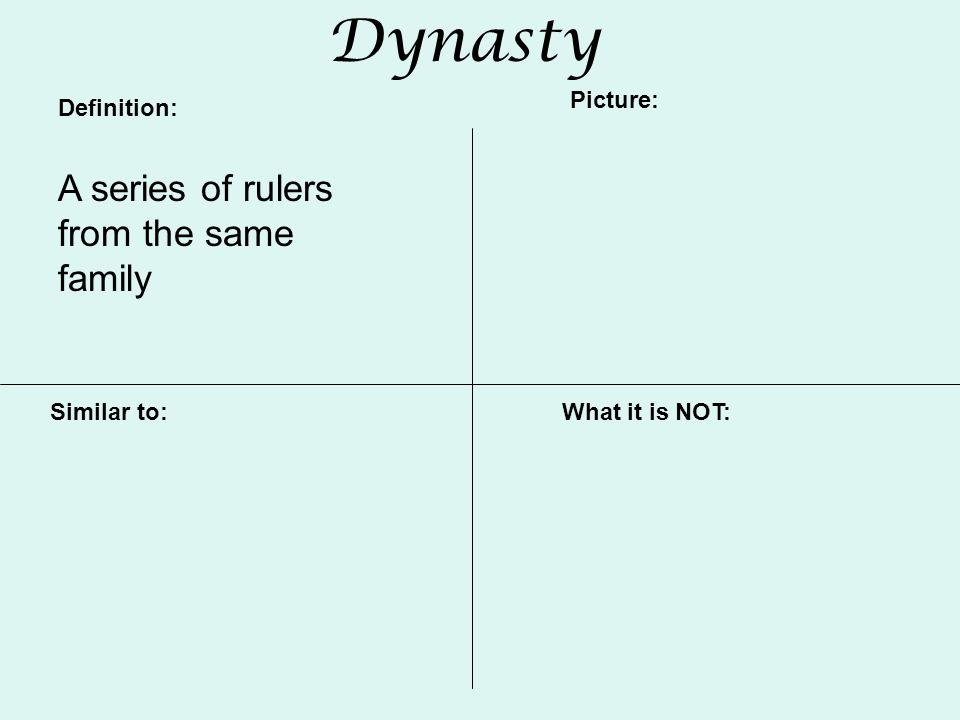 Dynasty Definition: Picture: Similar to:What it is NOT: A series of rulers from the same family