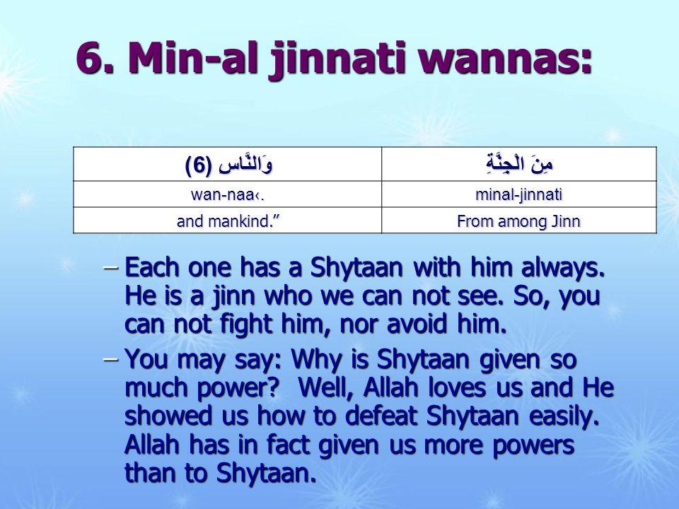 6. Min-al jinnati wannas: –Each one has a Shytaan with him always.