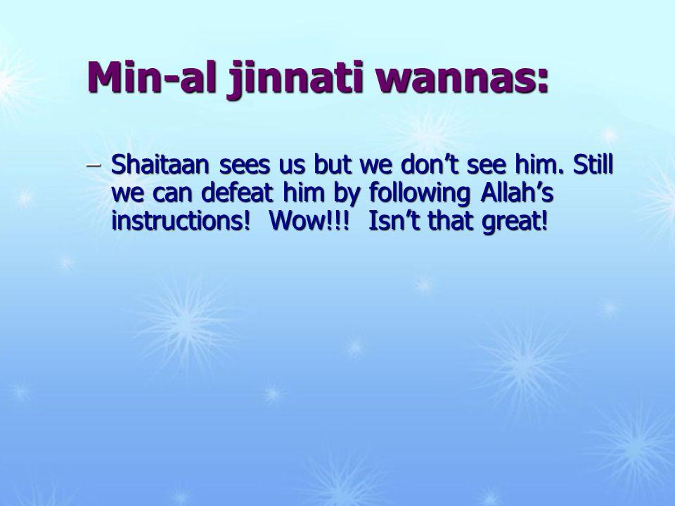 Min-al jinnati wannas: –Shaitaan sees us but we don't see him.